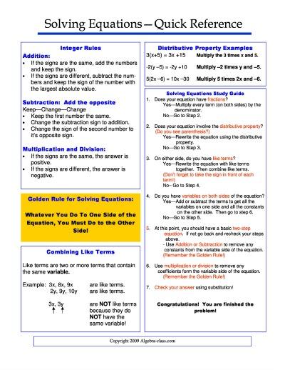 solving equations cheat sheet