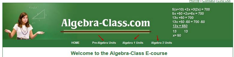 how to use algebra class ecourse