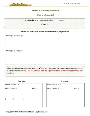 algebra notes worksheets