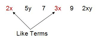 2x and 3x are like terms