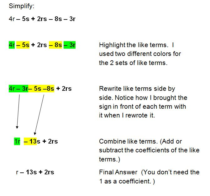 math worksheet : simplifying algebraic expressions and combining like terms : Simplify Algebraic Expressions Worksheet