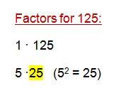 factors for 125