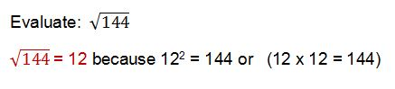 square root of 144