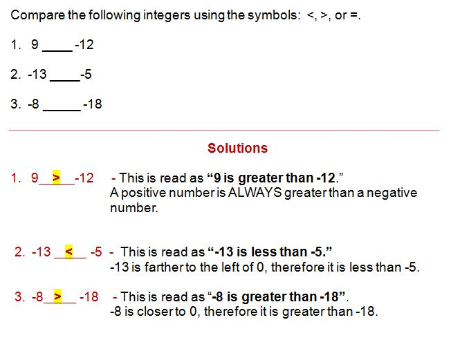 comparing integers using inequality symbols