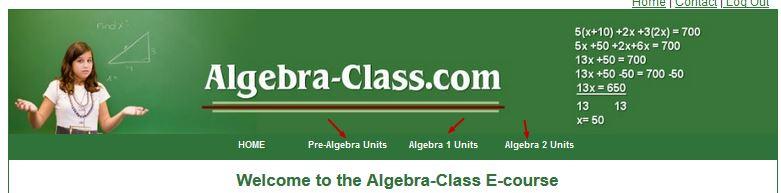 how to use algebra class ecourse