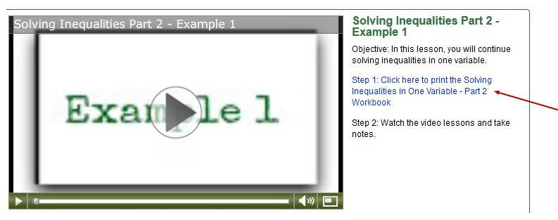 using the algebra class ecourse