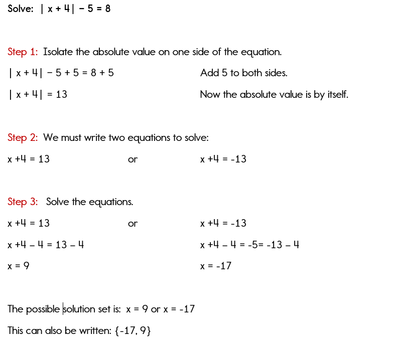 Isolating the absolute value when solving equations
