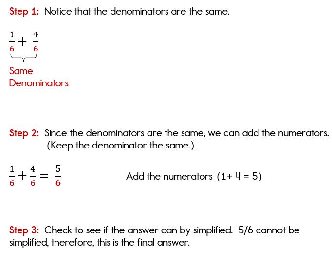 Adding fractions with common denominators.