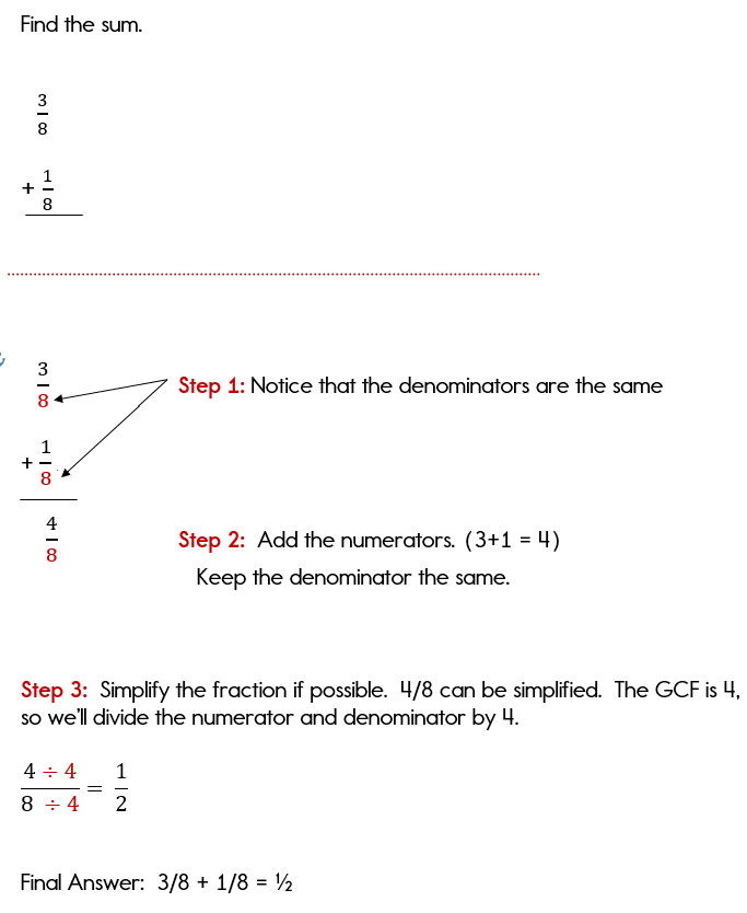 Adding fractions with common denominators vertically