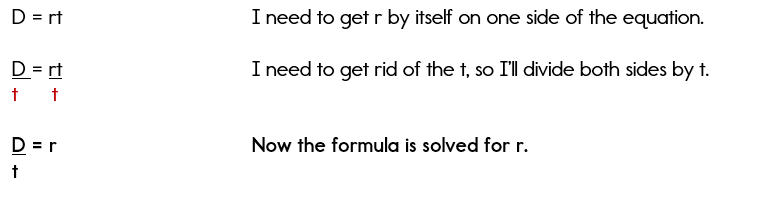 Solving the distance formula for r.