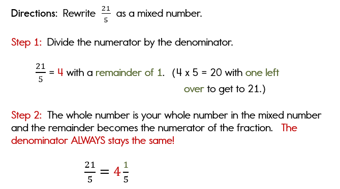 Rewriting an improper fraction as a mixed number