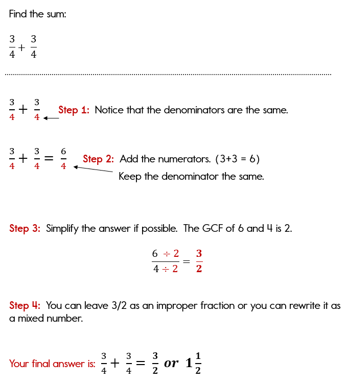 Adding two fractions with the same denominator