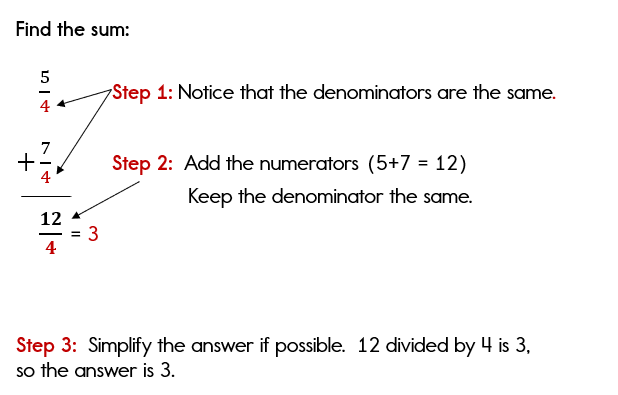 Adding improper fractions with common denominators