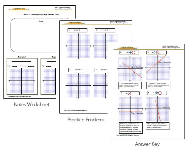 Algebra Ecourse Worksheet examples