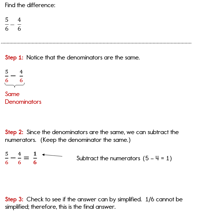 Subtracting Fractions with Common Denominators