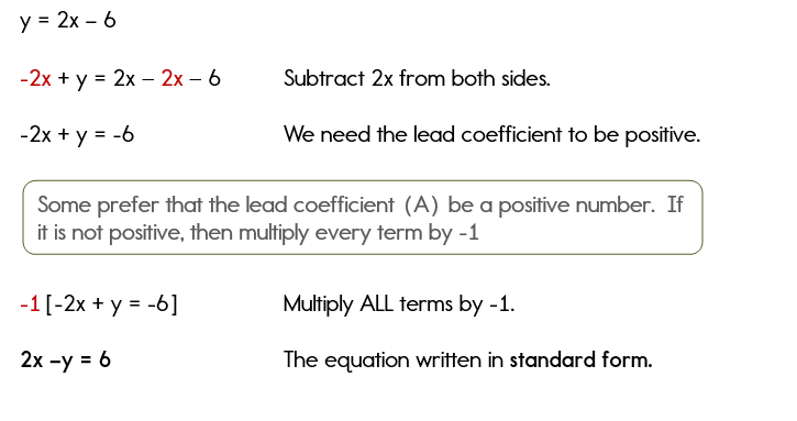 standard form of an equation  Writing Equations in Standard Form