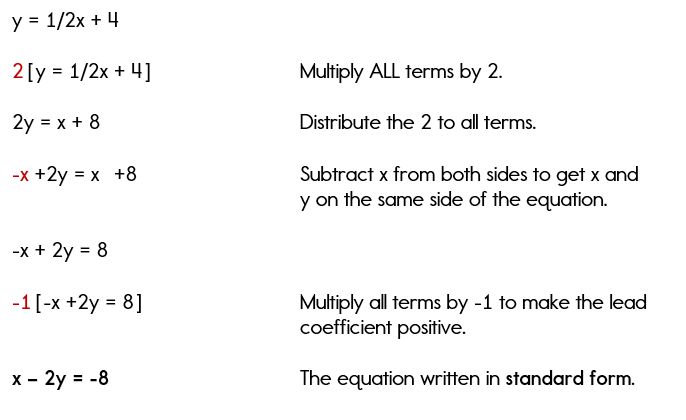 Writing Standard Form Equations