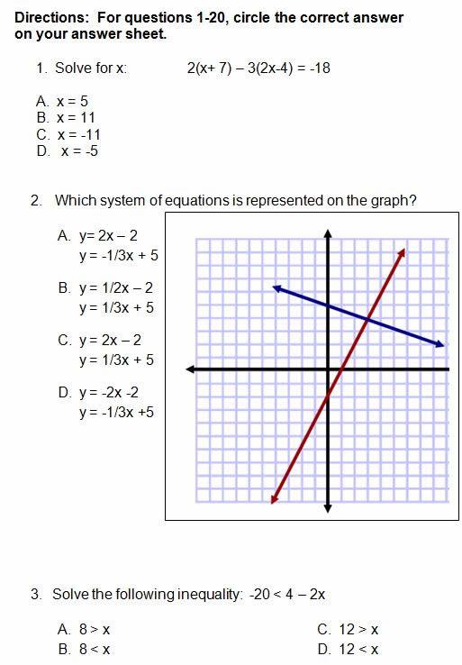 Algebra 1 Quiz 31